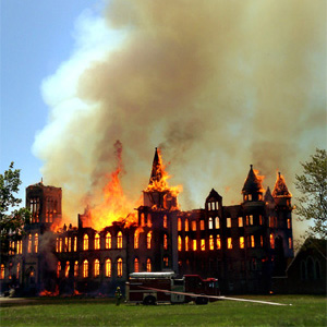 Alma College burns.